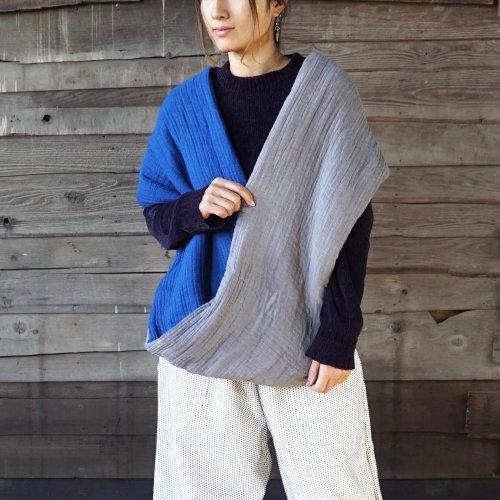 スヌードポンチョ/インディゴグレー/三河織物ガーゼ