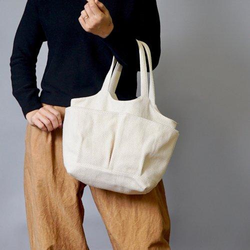 ベジバッグ (手提げ) /生成り/三河木綿 刺し子織