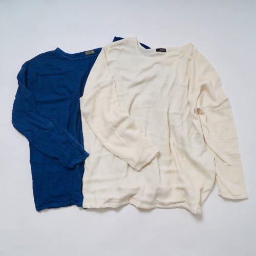 【福袋】洗い替え2枚セット/ゆったりガーゼロンT/ブルー&生成り