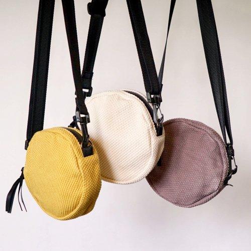 ショルダーバッグcircle/ニュアンス3カラー/三河木綿刺し子織