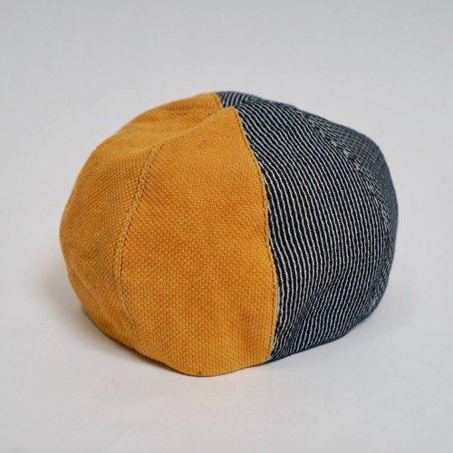 ツートンベレー帽/立涌2カラー/三河木綿 刺し子織