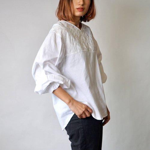 刺繍ブラウス バルーンスリーブ/ホワイト/三河織物
