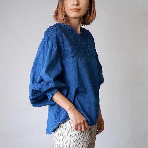 刺繍ブラウス バルーンスリーブ/インディゴブルー/三河織物