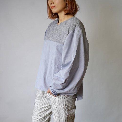 刺繍ブラウス バルーンスリーブ/Matchaグレー/三河織物