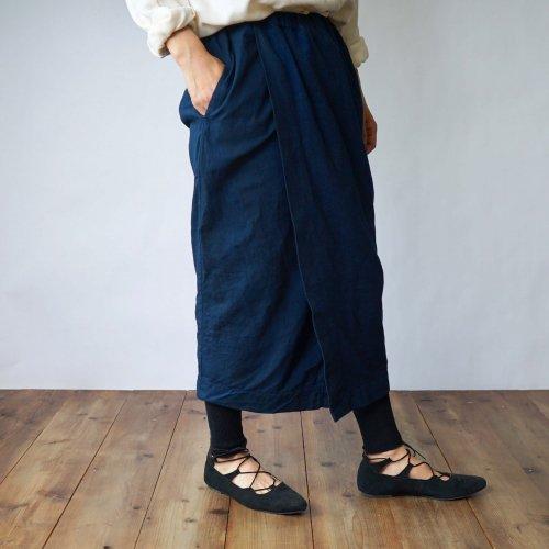 コクーン巻きスカートロング/ネイビーグレー/三河木綿刺し子織