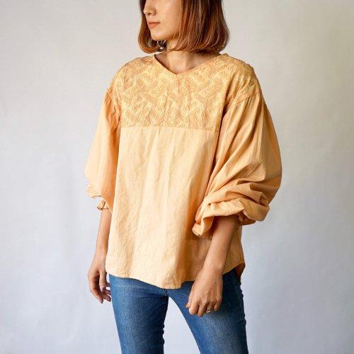 刺繍ブラウス バルーンスリーブ/ライトオレンジ/三河織物