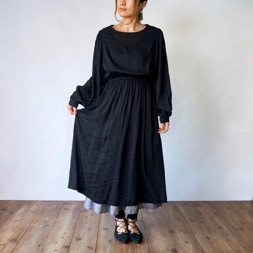 バルーンスリーブワンピース/ブラック裾グレー/三河織物