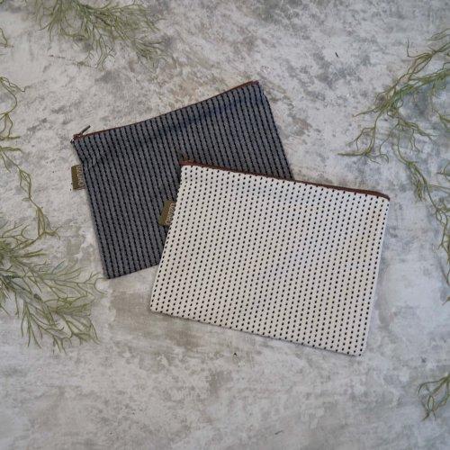 小物入れポーチ/2カラー/三河木綿刺し子織