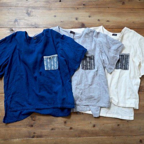 フレアスリーブ ガーゼTシャツ/3カラー羽根柄ポケット/三河織物ダブルガーゼ