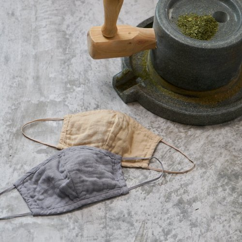 【2枚セット】ガーゼ立体マスク大人用/抹茶染め 2色セット/知多木綿