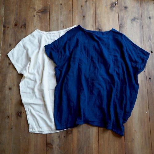 【福袋】洗い替え2枚セット/ゆったりガーゼTシャツ/生成り&ブルー