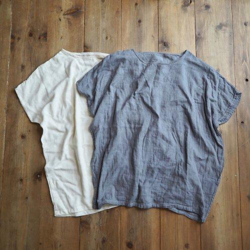 【福袋】洗い替え2枚セット/ゆったりガーゼTシャツ/生成り&グレー