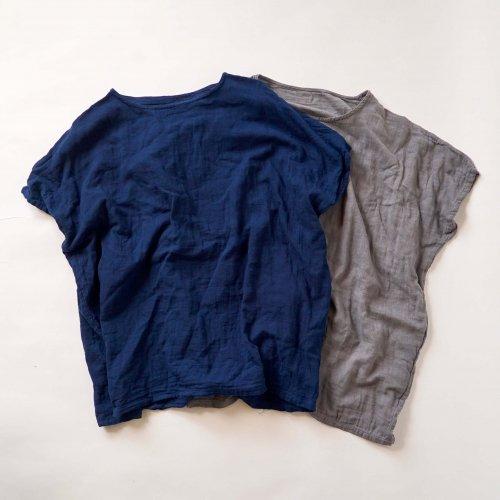 【福袋】洗い替え2枚セット/ゆったりガーゼTシャツ/ブルー&グレー