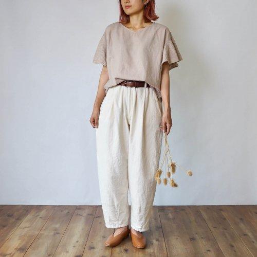 【福袋】刺繍フリルスリーブTシャツ/ピンクベージュ+ボンタンパンツ/生成り