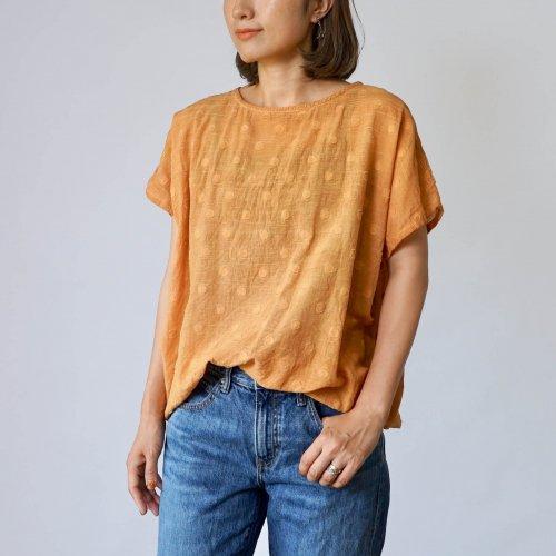 ゆるふわドットTシャツ/オレンジ/遠州織物
