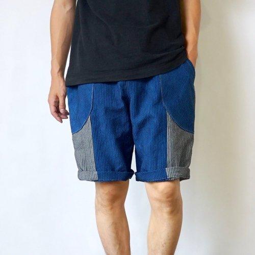 一本刺し子ハーフパンツ/パッチワーク-ブルーグレー/三河木綿刺し子織