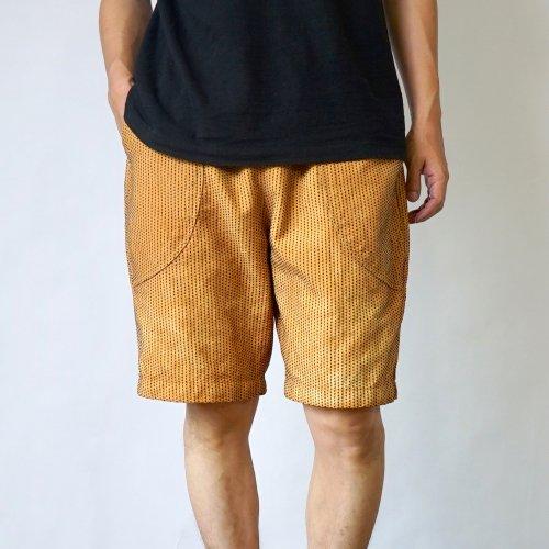 一本刺し子 ハーフパンツ/オレンジ/三河木綿 刺し子織