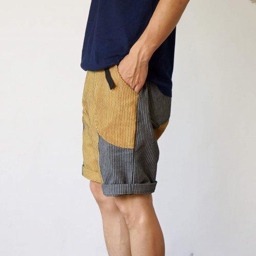 一本刺し子ハーフパンツ/パッチワーク-オレンジグレー/三河木綿刺し子織