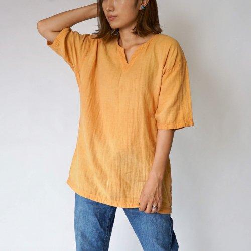 キーネックガーゼTシャツ/オレンジ/知多木綿 ダブルガーゼ