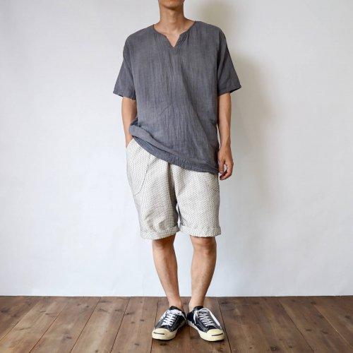 【福袋】キーネックガーゼTシャツ/グレー + 一本刺し子 ハーフパンツ/生成り