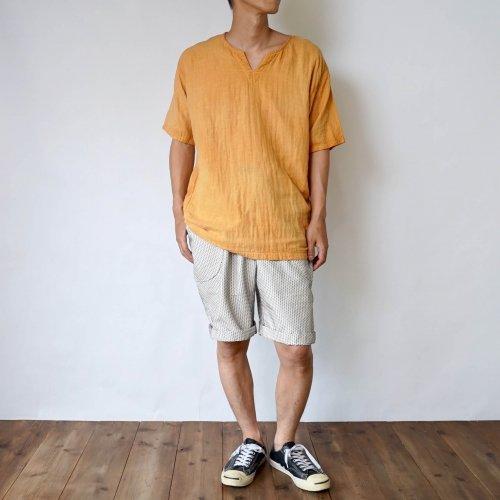 【福袋】キーネックガーゼTシャツ/オレンジ + 一本刺し子 ハーフパンツ/生成り