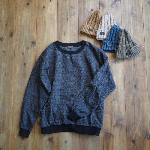 【福袋】刺し子織トレーナー/麻柄グレー + 和紙ニット帽/4カラー