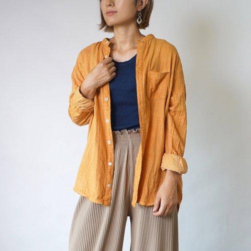 ノーカラー ガーゼシャツ/オレンジ/知多木綿