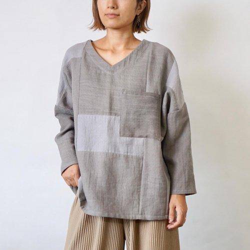 VネックガーゼロンT/TSUGIHAGIグレー/知多木綿 格子柄ガーゼ