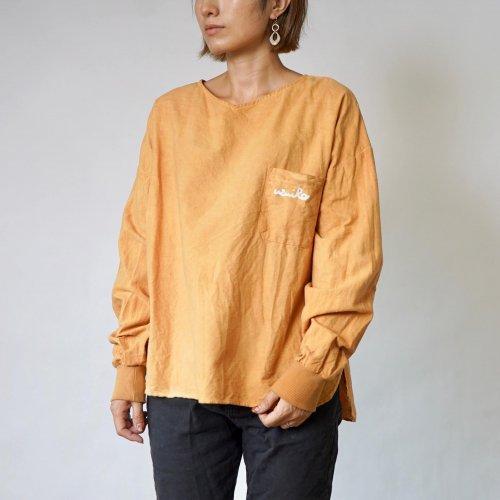 ドロップショルダーVネックロンT/オレンジ/三河織物