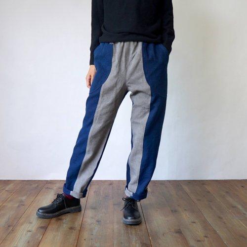 ツートンサルエルパンツ/グレー×ブルー/三河木綿 刺し子織