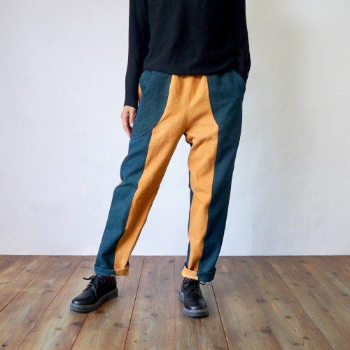 ツートンサルエルパンツ/オレンジ×グリーン/三河木綿 刺し子織