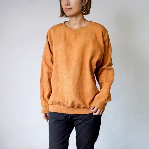 刺し子織トレーナー/オレンジ/三河木綿