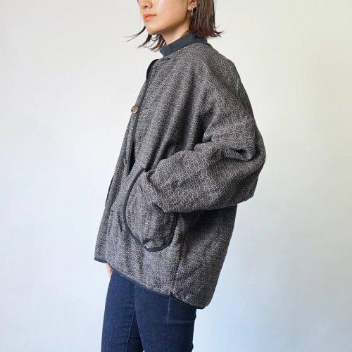 麻柄ノーカラージャケット/グレー/三河木綿 刺し子織