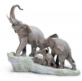 Lladro(リヤドロ) ゾウ 象 ぞう 動物 親子 家族 象の行進 【01001150】