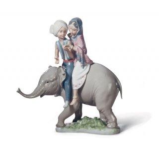 リヤドロ Lladro 【 象にまたがって 】  01005352 HINDU CHILDREN