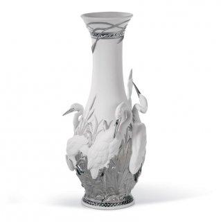 リヤドロ Lladro 【 白サギ 花瓶(RE-DECO) 】  01007053 HERONS' REALM VASE (RE-DECO)
