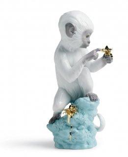 リヤドロ 人形  『好奇心(猿)  01007238 CURIOSITY - MONKEY ON TURQ. ROCK』