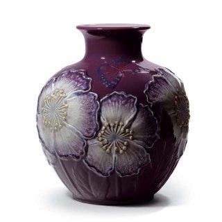 リヤドロ Lladro 【 花瓶・ポピー(パープル) 】  01008621 POPPY FLOWERS VASE (PURPLE)