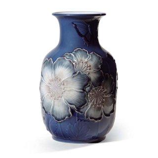 リヤドロ Lladro 【 花瓶・ポピー(ブルー高) 】  01008649 POPPY FLOWERS TALL VASE (BLUE)