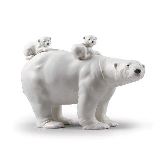 リヤドロ Lladro 【 熊の母子 】  01009290 MUMMY BEAR AND BABIES FIGURINE