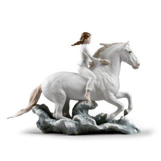リヤドロ Lladro 【 海辺を駆けて 】  01009371 RIDING HER HORSE ON THE SEASHORE HORSE & WOMAN FIGURINE