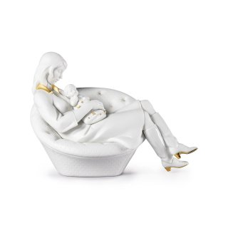 リヤドロ Lladro 【 母との眠り(White-Gold) 】  01009381 FEELS LIKE HEAVEN MOTHER. WHITE & GOLD LLADRO