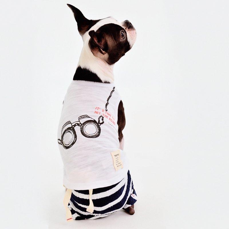 TINOTITO(ティノティート)双眼鏡タンクトップ<br><span>ホワイト/ブルー</span>の画像