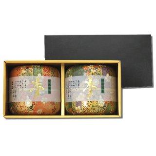 なつめ茶缶 上煎茶ギフト 70g×2 (緑*橙)