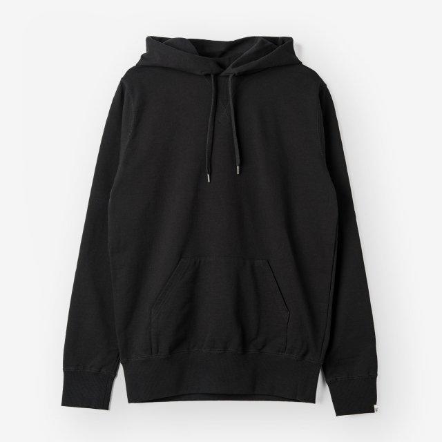 <span>Cotton&Silk Pullover Sweat Hoody /Black</span>【LEON掲載】コットン&シルク プルオーバースウェットパーカー / ブラック