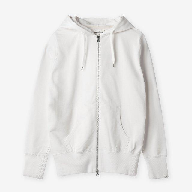<span>Silk&Cotton Zip-up Sweat Hoody / White</span>シルク&コットン ジップアップスウェットパーカー / ホワイト