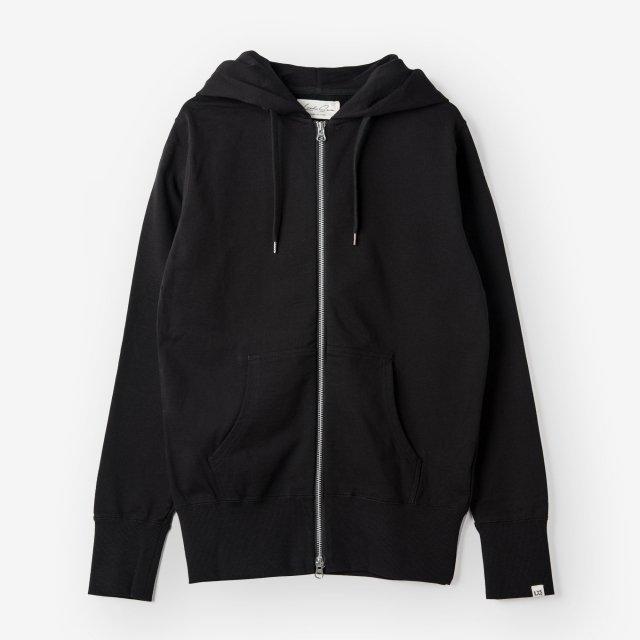 <span>Cotton&Silk Zip-up Sweat Hoody / Black</span>コットン&シルク ジップアップスウェットパーカー / ブラック