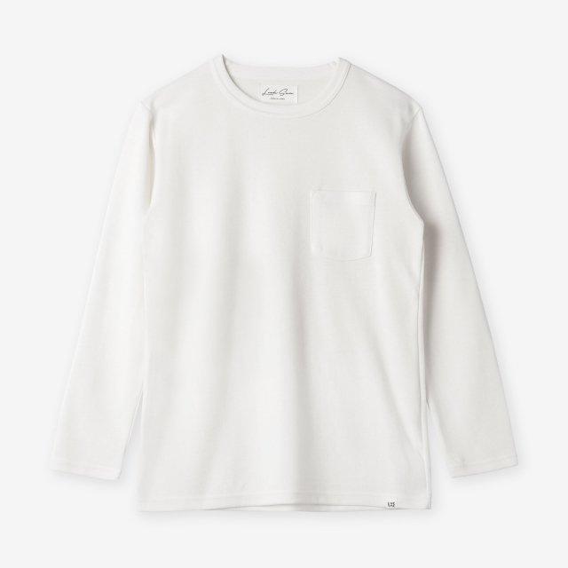 <span>Cotton&Silk Crew-neck Long Sleeve / White</span>コットン&シルク クルーネック長袖Tシャツ / ホワイト