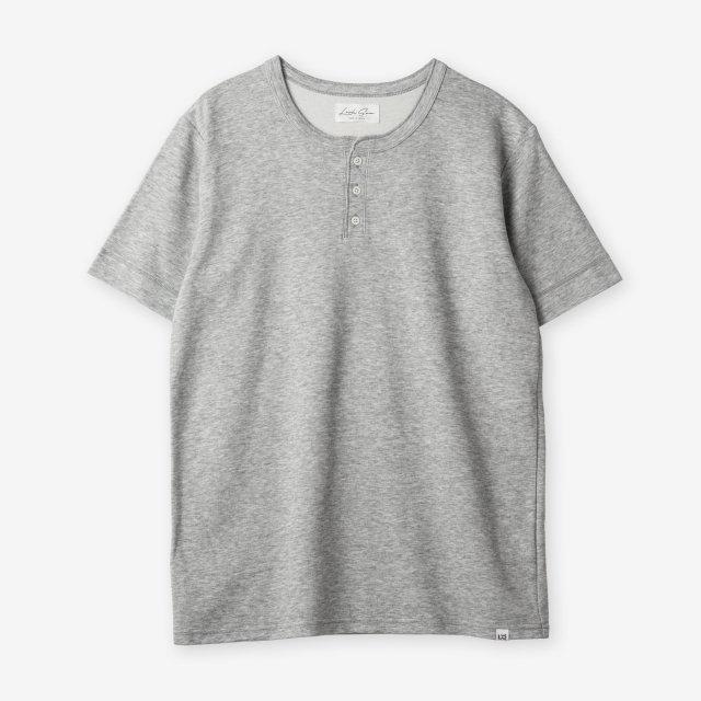 <span>Cotton&Silk Henley-neck T-shirts / Grey</span>コットン&シルク ヘンリーネックTシャツ / グレー