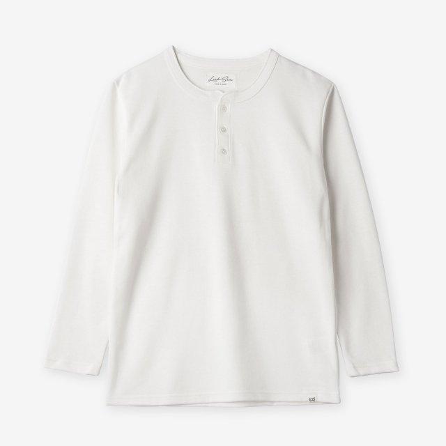 <span>Cotton&Silk Henley-neck Long Sleeve / White</span>コットン&シルク ヘンリーネック長袖Tシャツ / ホワイト